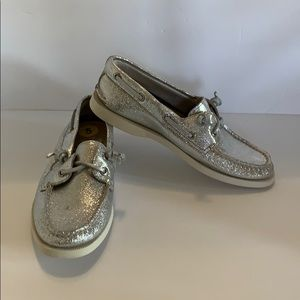 Sperry Topsider shoes 5 new no box leather silver
